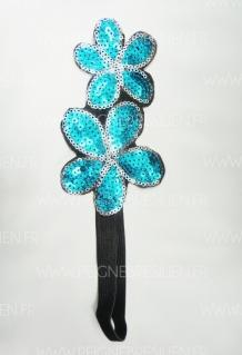 HeadBand Doubles Fleurs Bleues